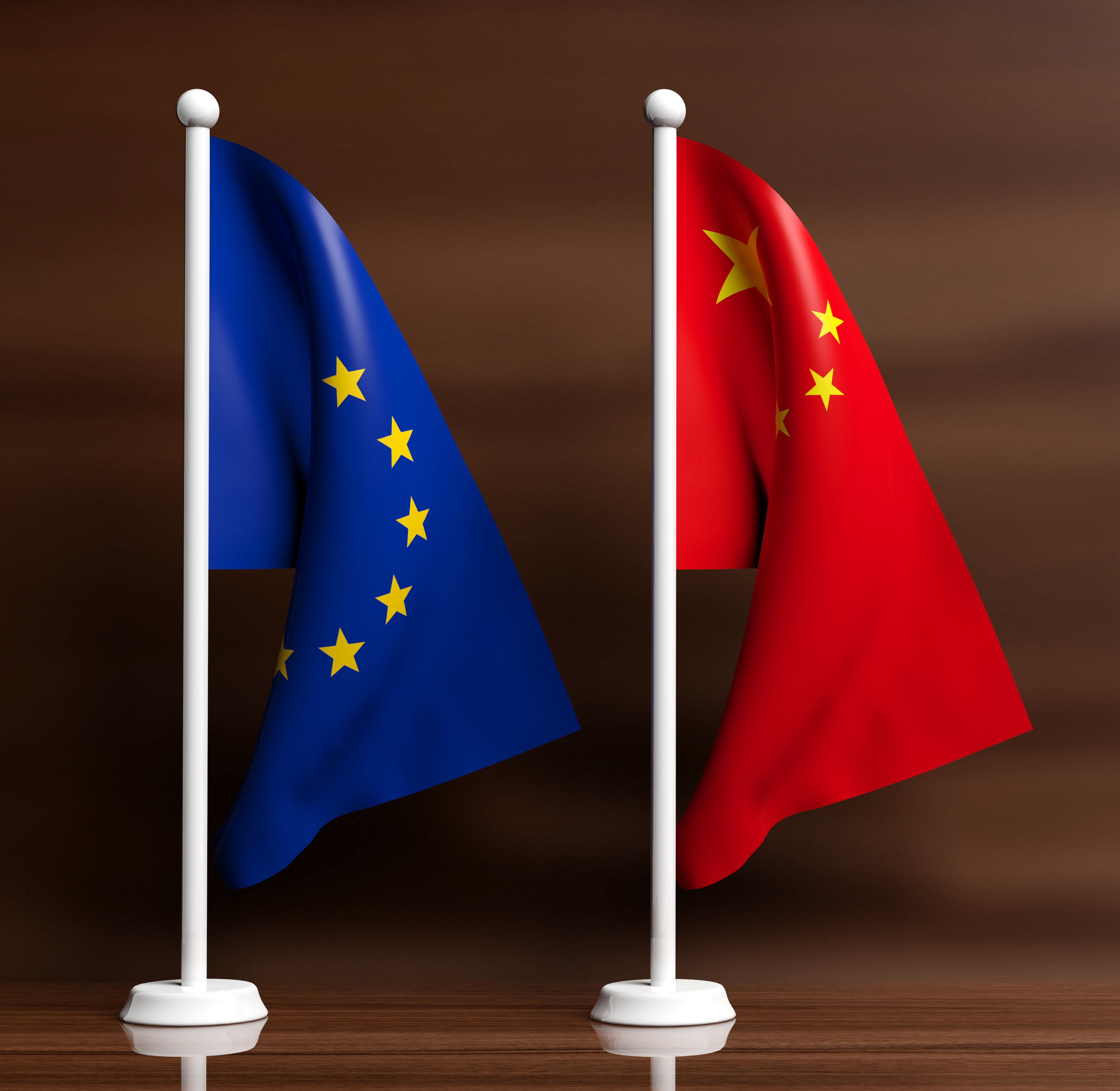 EU and China Flags