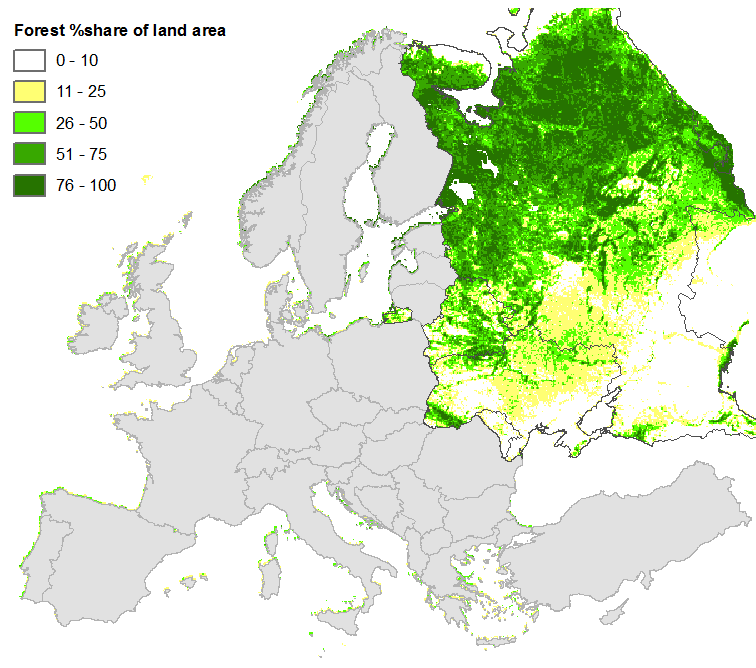 Europe Map Fill In, Figure 2 Noaa Avhrr Based Forest Cover Data For Eastern Europe At 1km, Europe Map Fill In