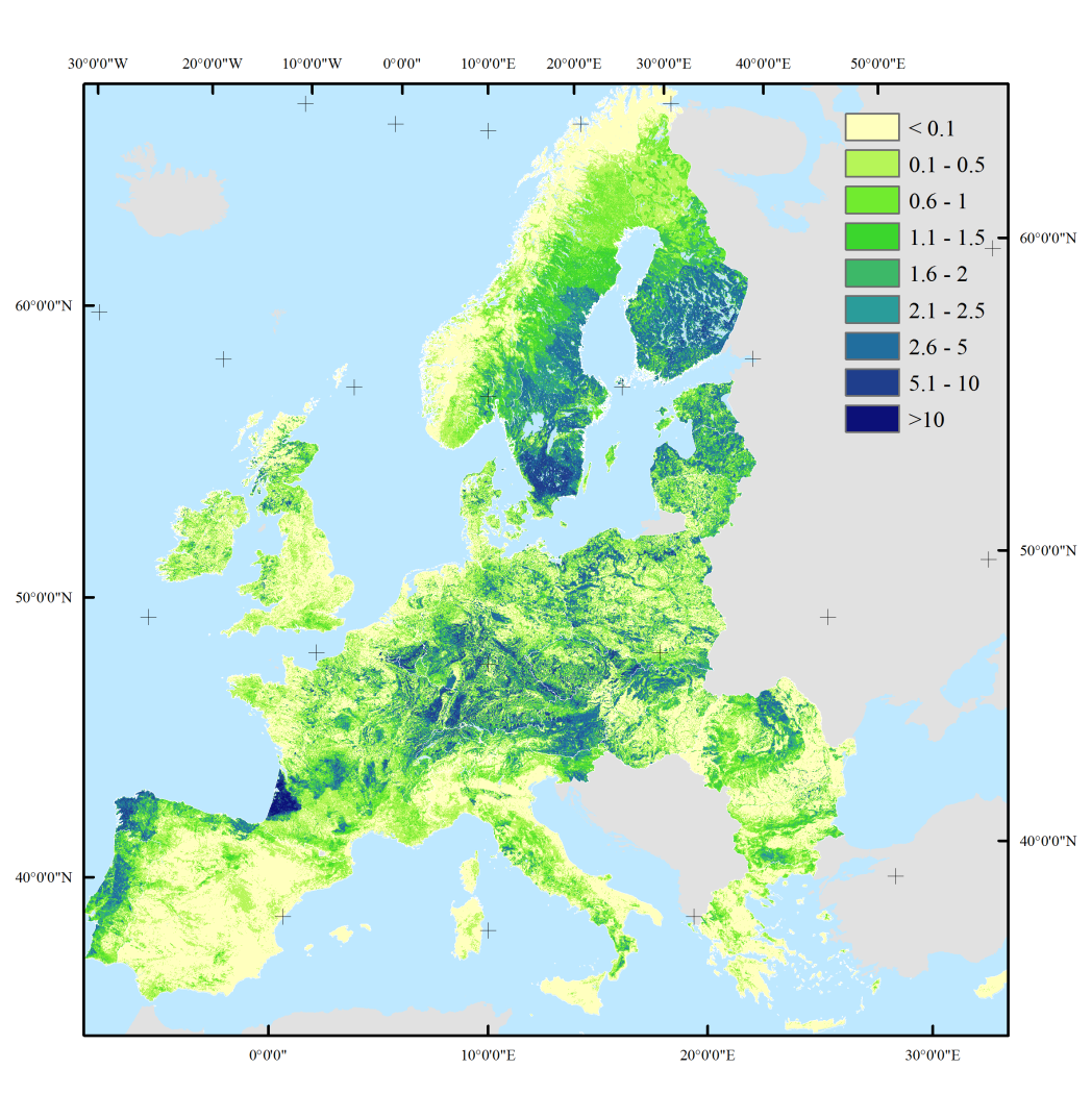 Map showing predicted wood production (in cubic meters per ha of land per year) in Europe averaged over the period 2000-2010.